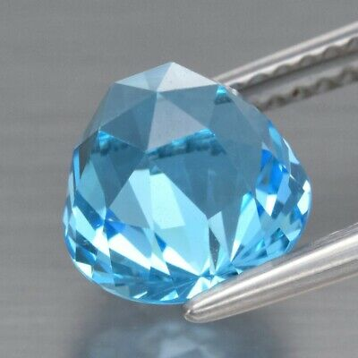 Top! VVS 3.40ct 8mm Round Rose-Cut Natural Sky Blue Topaz, Brazil