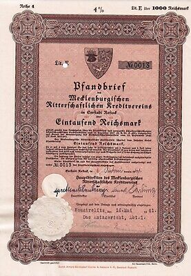 1000 Reichsmark - War-time Nazi Municipal Bond (Embossed Swastika seal) 1941