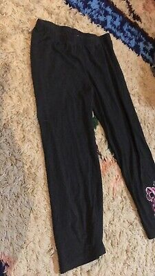 knitworks girls black cropped leggings size large