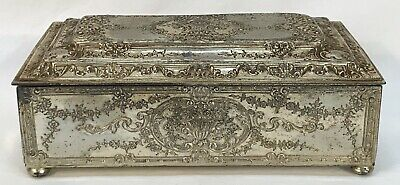 Antique Repousse Floral Silverplate BARBOUR S.P. Cigarette Jewelry Trinket Box