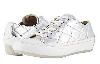 Vionic Orthaheel DELIGHT EDIE Quilted Leather Lace-up Sneakers BLACK  9.5 M NIB