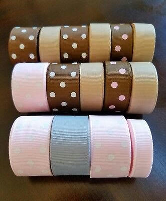 Wholesale 45 yards of GROSGRAIN RIBBON LOT neutral solids 7/8, 5/8, 3/8 inch