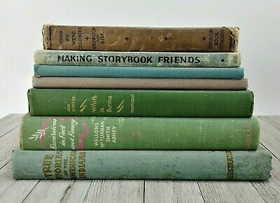 Vintage Mid-Century Shelf Book Lot Pastel Shabby Chic Spring Easter Library Prop