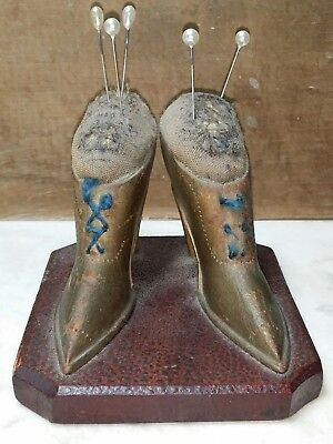 Antique Folk Art Sewing Pin Cushion American Carved Wood Victorian Ladies Shoes