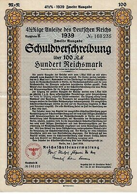 100 Reichsmark German Nazi War Bond Cert WWII  1939 (Un-redeemed CV:$269.95)
