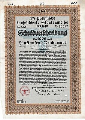 5000 Reichsmark German Nazi War Bond Cert WWII 1940 (Cancelled - CV:$79.95)