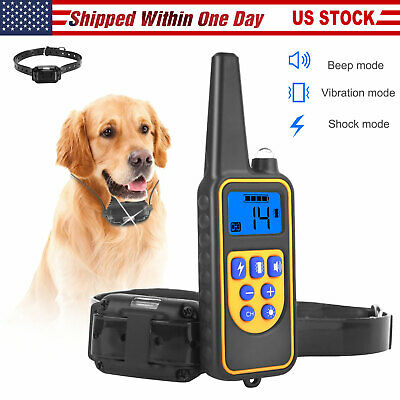 800Yard Waterproof Rechargeable Remote Dog Training Shock Collar Hunting Trainer