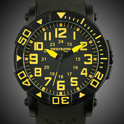 Infantry Infiltrator Mens Analog Wrist Watches Yellow Fashion Sport Black Rubber