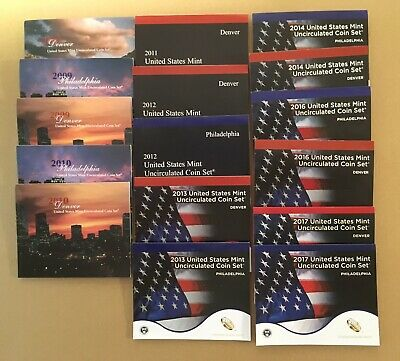 US Mint Uncirculated Coin Set Lot  Various from 2007 - 2017 P and D