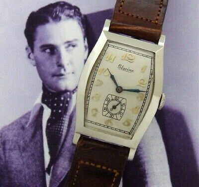 Men's Art Deco Glycine Wrist Watch in 14K White Gold, Circa 1928 - SERVICED