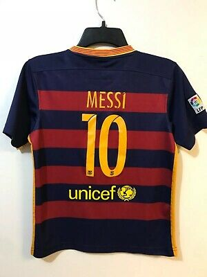 ad53fe639 FC Barcelona Messi 10 Jersey Youth Size Large Qatar Airways Blue Red Unicef