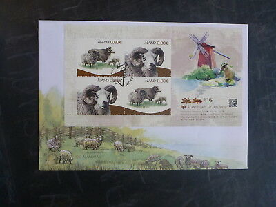 2014 Aland, Finland My Aland Sheep 4 Stamp Mini Sheet Fdc First Day Cover
