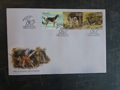 2015 Aland, Finland Hunting Dogs Set 3 Stamps Fdc First Day Cover