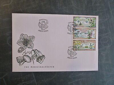 2016 Aland, Finland Medical Plants Set 3 Stamps Fdc First Day Cover