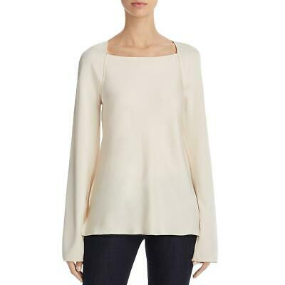 Elizabeth and James Womens Danel Ivory Satin Long Sleeve Blouse Top S BHFO 8266
