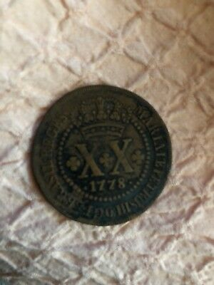 Coin Brazil 1778 XX (20) Reis Good Condition