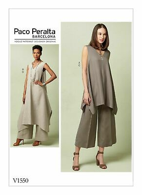 Vogue Pattern V1550 DESIGNER PACO PERALTA Loose Fit Tunic and Pants Sizes 6-22