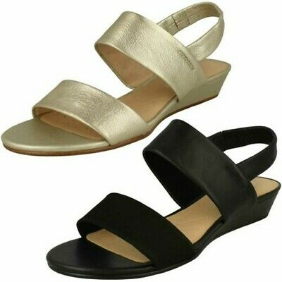 8cdd631787a4 Ladies Clarks Elasticated Slingback Strappy Leather Sandals Sense Lily