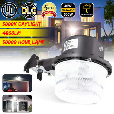40W Dusk To Dawn LED Barn Area Light Outdoor Security Garden Garage Wall Lamp