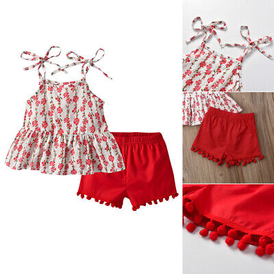 UK Toddler Kids Baby Girls Summer Clothes Floral Tops Shorts Pants 2PCS Outfits