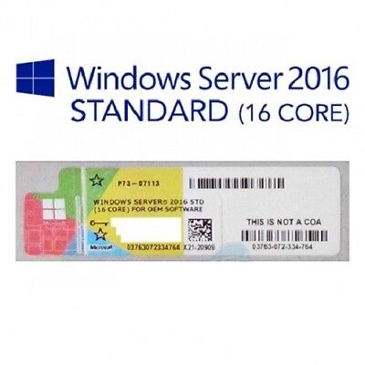 5x MICROSOFT WINDOWS SERVER 2016 (16 CORE) STANDARD LABEL STICKER COA x5 LABEL