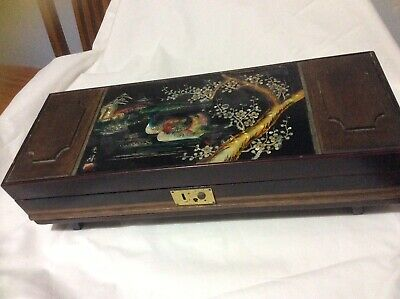 Antique Asian Large Mother Of Pearl Inlaid Musical Jewellery Box