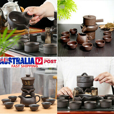 11PCS Chinese Kung Fu Infuser Tea Set Semi-automatic Purple Clay Teapot Kits AU