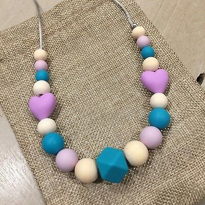 Silicone and Wood Girl's/Toddler Necklace, Sensory, Natural Chemical Free