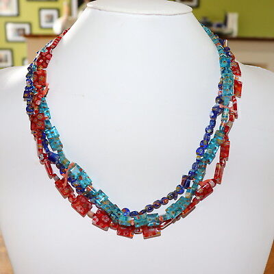 Vintage 1930s Sterling Silver Italian Murano Glass Bead & Coral Artisan Necklace