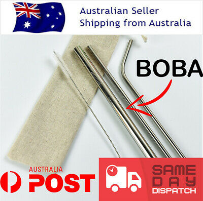 Eco Reusable Stainless Steel Metal Extra Boba Drinking Straw Set + Brush & Bag