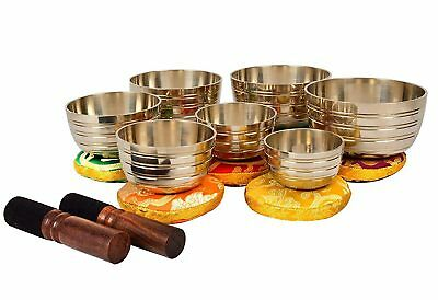 Tibetan Bronze Sets Of Seven Singing Bowls-Harmonious Sounds Chakra Balancing