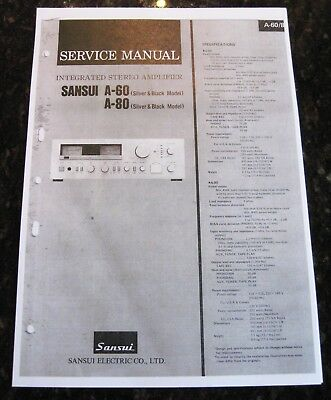 Service Manual for Sansui Stereo Amplifiers Models A60 and A80