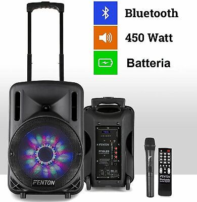 "Cassa Amplificata 450W 10"" Bluetooth + Batteria + Microfono Wireless + Usb"