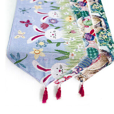 Nordic Cute Easter Rabbit Eggs Printed Tablecloth Table Runner Kitchen Decor