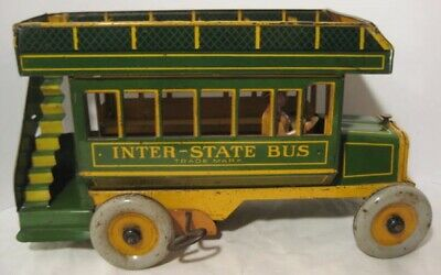 "Spectacular Antique Tin Wind Up Toy Inter-State Bus Big 11"" Strauss 1920 Rare!"