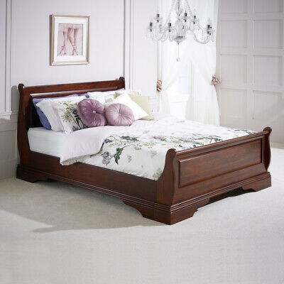 French Solid Hardwood 4ft 6in Double Mahogany Stained Sleigh Bed - HW04