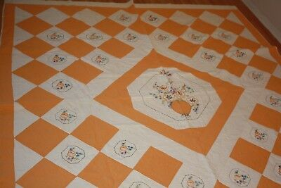 """Vtg Antique Quilt  Embroidered Pansey Hand Made Cotton Quilt Bed Spread 68""""x 85"""""""