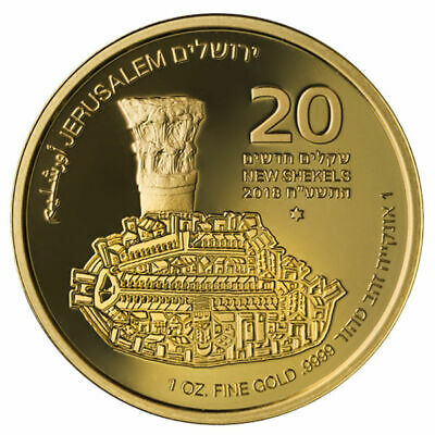 1Oz Gold Coin Fine.9999 - Jerusalem Of Gold - The Cardo - The Holy Land Mint