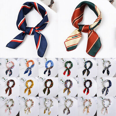 Floral Hair Tie Band Neckerchief Square Scarf Silk Feel Satin Head Neck Wrap