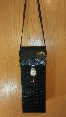 NWOT Faux Diamonds and Reptile Wine Liquor Bottle Tote Bag Carrier
