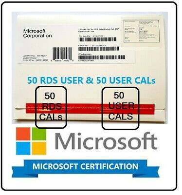 Microsoft Windows Server 2016 Standard 2CPU 64BIT + 50 RDS USER + 50 USER CALs
