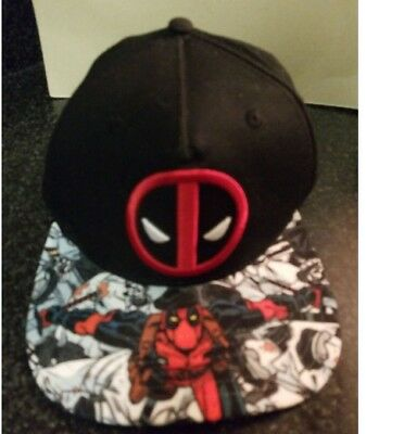 finest selection 44876 4c0e4 Marvel Comics Deadpool Hat Cap Flat Bill Logo Snapback