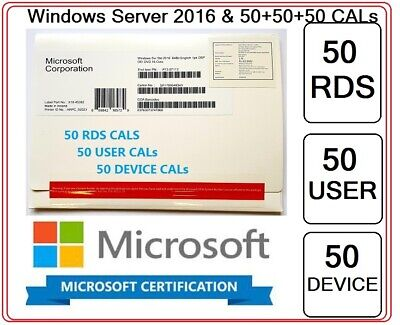 Microsoft Windows Server 2016 Standard 64BIT + 50 RDS  + 50 USER + DEVICE CALs