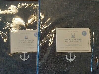 """S2 Pottery Barn Kids ~ Anchor Printed Blackout Panel  44"""" X 84"""" ~ Navy"""