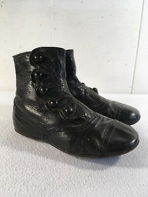 Antique Victorian Toddler Shoes Leather 5 Button Up Child's Black Tall Hi- Tops