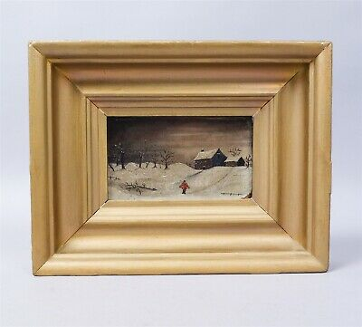 Exceptional Estate Found Framed 19c Snowy Landscape Oil Painting AAFA
