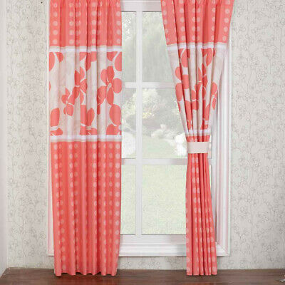 DIANA DOTS CORAL Bedroom Curtain Panels Set New Girls Teen Home Decor by  Intima