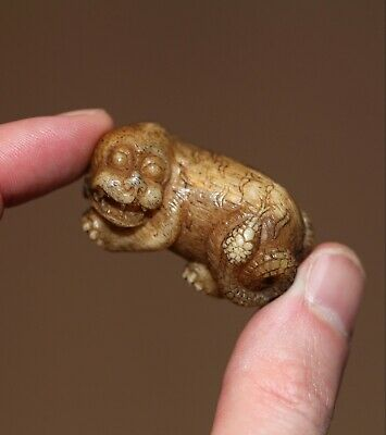 antique Japanese carved stag antler Netsuke of a mythical Nuye, 19th century EDO