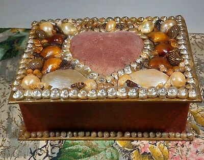 Shell Art Sewing Box With Velvet Pin Cushion Replica Sailor Valentine