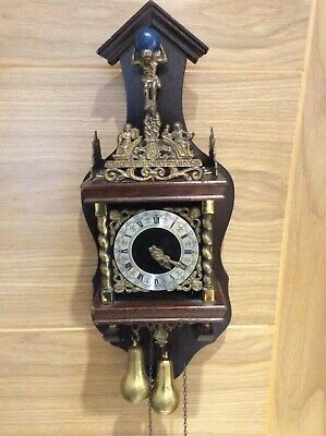 Vintage weight driven chiming Dutch Wall clock